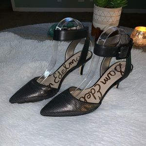Sam Edelman 9 M Silver Black Metallic Ankle Heel